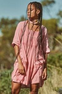 SPELL HARMONY TUNIC DRESS PEONY ~ pink lace panel boho dresses ~ beautiful bohemian fashion