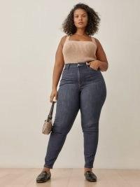 Reformation Harper High Rise Skinny Jeans Es in Neris   women's on-trend plus size denim fashion
