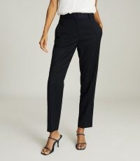 Reiss HAYES SLIM FIT TAILORED TROUSERS NAVY – chic dark blue ankle grazing trouser suit pants