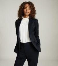 Reiss HAYES WOOL BLEND SLIM FIT BLAZER NAVY – womens chic dark blue coordinating suit blazers – women's stylish single button jackets – classic suits