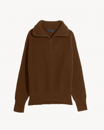 NILI LOTAN HESTER SWEATER ~ womens chestnut brown pullover sweaters ~ women's cashmere rib jumpers - flipped