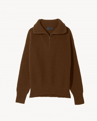 NILI LOTAN HESTER SWEATER ~ womens chestnut brown pullover sweaters ~ women's cashmere rib jumpers