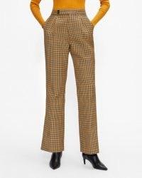 TED BAKER EELISET High Waisted Slim Flare Trouser Light Brown ~ womens checked flares