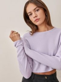 REFORMATION Idan Cropped Cashmere Crew in Pale Lavender