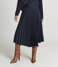 REISS IRIS ASYMMETRIC PLEATED MIDI SKIRT NAVY ~ dark blue contemporary skirts
