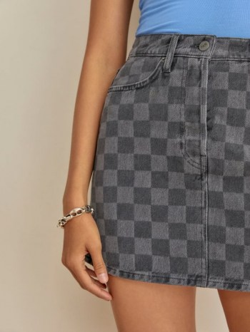 REFORMATION Jackie High Rise Denim Mini Skirt in Checkered / womens checked skirts - flipped
