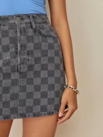 REFORMATION Jackie High Rise Denim Mini Skirt in Checkered / womens checked skirts