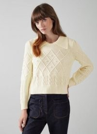 L.K. BENNETT JEAN CREAM COTTON-MERINO WOOL COLLARED JUMPER ~ womens luxe textured jumpers