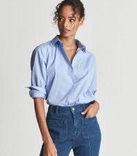 REISS JENNY COTTON POPLIN SHIRT BLUE ~ womens shirts ~ women's wardrobe essentials