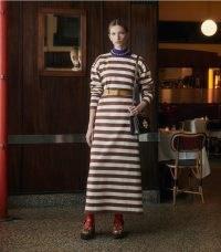 TORY BURCH JERSEY STRIPED DRESS in Dark Auburn / French Cream Stripe ~ long sleeve cotton jersey T-shirt dresses ~ casual autumn fashion
