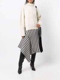 Jil Sander two-tone cotton asymmetric skirt ~ side drape detail skirts ~ womens contemporary fashion