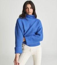 Reiss JILLIAN ROLL NECK BLUE   womens high neck oversized jumpers   women's cuffed long sleeved ribbed knit jumper   stylish knitwear