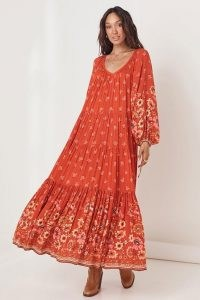 SPELL JONI GOWN CAMPFIRE ~ tiered floral print maxi dress ~ flowing balloon sleeve boho dresses ~ beautiful bohemian fashion