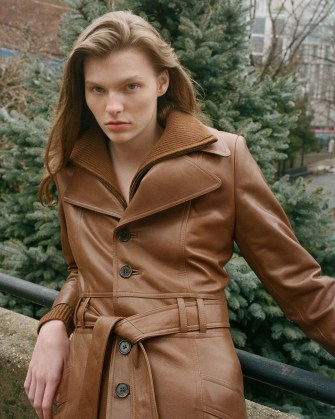 NILI LOTAN JONI 70S LEATHER COAT Chestnut ~ women brown 1970s vintage style belted coats ~ women's luxe outerwear - flipped