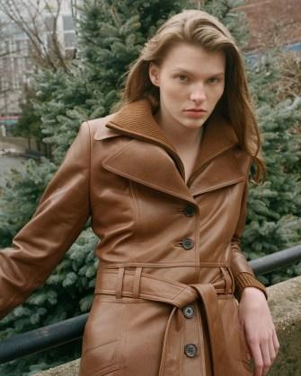 NILI LOTAN JONI 70S LEATHER COAT Chestnut ~ women brown 1970s vintage style belted coats ~ women's luxe outerwear