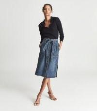 Reiss JUNO BELTED DENIM MIDI SKIRT BLUE – split hem tie waist skirts
