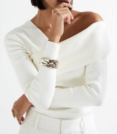 REISS KALI RIPPLE CUFF GOLD ~ rippled effect statement cuffs ~ womens chic fashion jewelley - flipped
