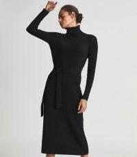 KARA KNITTED BODYCON DRESS BLACK   high neck jumper dresses   womens knitted fashion