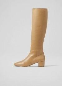 L.K. BENNETT KAREN CAMEL LEATHER KNEE-HIGH BOOTS ~ light brown block heel round toe boots ~ womens chic autumn and winter footwear