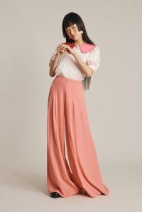 GHOST KATE TROUSERS Rose Pink ~ womens wide leg palazzo style trousers ~ women's vintage inspired fashion