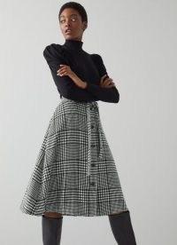 L.K. BENNETT KATIE BLACK AND WHITE CHECK WOOL-BLEND MIDI SKIRT / checked A-line tie waist skirts