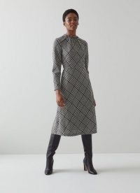 KATIE BLACK AND WHITE CHECK WOOL-BLEND MIDI DRESS / long sleeve checked day dresses
