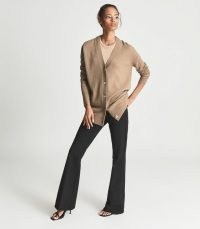 REISS KELIS WOOL CASHMERE BLEND CARDIGAN CAMEL ~ womens luxe light brown buttoned front cardigans