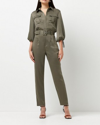 RIVER ISLAND Khaki belted jumpsuit ~ green utility style jumpsuits - flipped