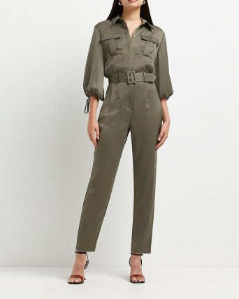 RIVER ISLAND Khaki belted jumpsuit ~ green utility style jumpsuits