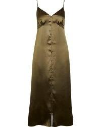 River Island Khaki button front slip dress – green cami strap dresses