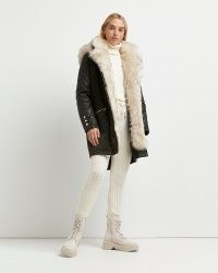 River Island Khaki faux fur lined parka coat – luxe style hooded winter coats – womens outerwear