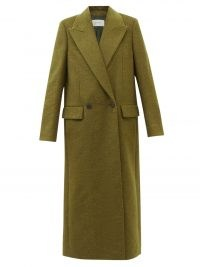 THE ROW Jaka green oversized wool-blend felt coat ~ khaki coloured longline minimalist coats ~ womens androgynous style fashion ~ women's autumn and winter outerwear