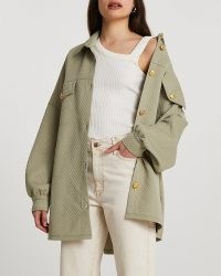 RIVER ISLAND Khaki quilted shacket ~ oversized shirt jackets ~ womens green overshirts ~ women's fashionable shackets