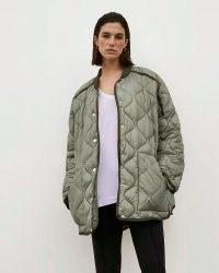 RIVER ISLAND Khaki RI Studio Quilted Jacket ~ womens casual green jackets