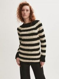 Jigsaw Ladder Stripe Jumper   womens striped textured ribbed knit jumpers   women's knitwear