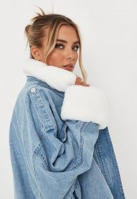 MISSGUIDED light blue faux fur collar denim jacket ~ womens slouchy oversized casual jackets