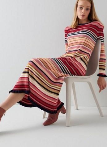 L.K. Bennett LILLIAN MULTI-STRIPE KNITTED DRESS | pink striped ruffle trim dresses