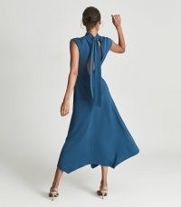 Reiss LIVVY OPEN BACK MIDI DRESS TEAL – chic high neck fit and flare dresses