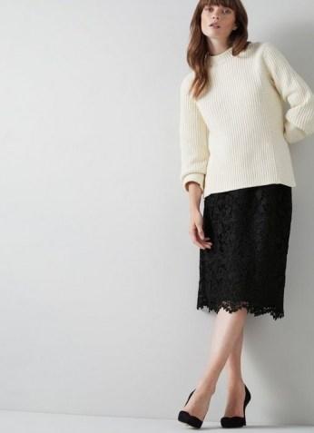 L.K. Bennett LOLA BLACK LACE PENCIL SKIRT | scalloped hem skirts | feminine fashion - flipped