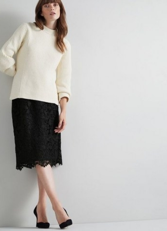 L.K. Bennett LOLA BLACK LACE PENCIL SKIRT | scalloped hem skirts | feminine fashion