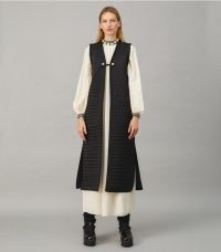 TORY BURCH LONG QUILTED SATIN VEST in Black ~ chic bohemian longline vests ~ beautiful boho inspired sleeveless jackets