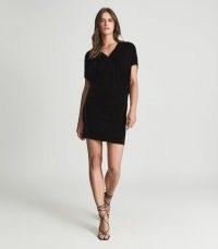 REISS LORETTA VELVET MINI DRESS BLACK ~ chic LBD