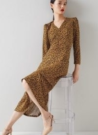 L.K. BENNETT LOTTIE LEOPARD PRINT JERSEY DRESS / ruched V neck animal print midi dresses