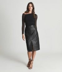 REISS LUCIE LEATHER PENCIL SKIRT BLACK ~ luxe front split skirts
