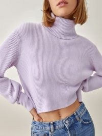 Reformation Luisa Cropped Cashmere Sweater Pale Lavender / luxe high neck sweaters   boxy crop hem jumpers