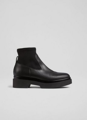 L.K. BENNETT LUNA BLACK LEATHER AND NYLON FLAT ANKLE BOOTS ~ womens chic chunky thick sole boots ~ women's fashionable winter footwear - flipped