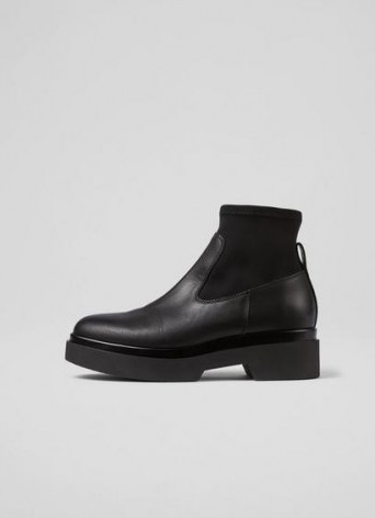 L.K. BENNETT LUNA BLACK LEATHER AND NYLON FLAT ANKLE BOOTS ~ womens chic chunky thick sole boots ~ women's fashionable winter footwear