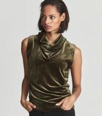 Reiss LUNA SLEEVELESS VELVET TANK TOP KHAKI – green cowl neck soft feel tops – luxe style fashion