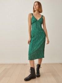 REFORMATION Lynda Dress in Rosemarie / green ditsy floral fashion / vintage style slip dresses
