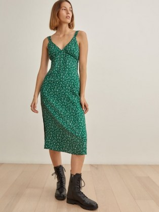 REFORMATION Lynda Dress in Rosemarie / green ditsy floral fashion / vintage style slip dresses - flipped